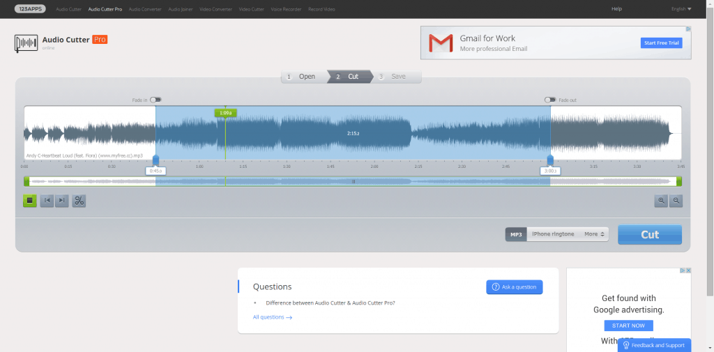 Audio Cutter Pro is a simple online audio editor and mp3 cutter