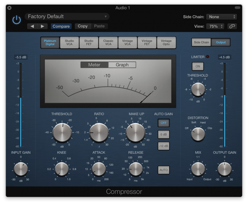 Dynamic vocal compression in Logic Pro X