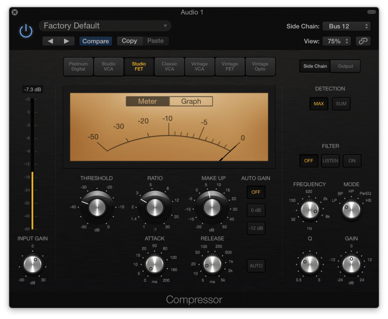 Side chain vocal compressor