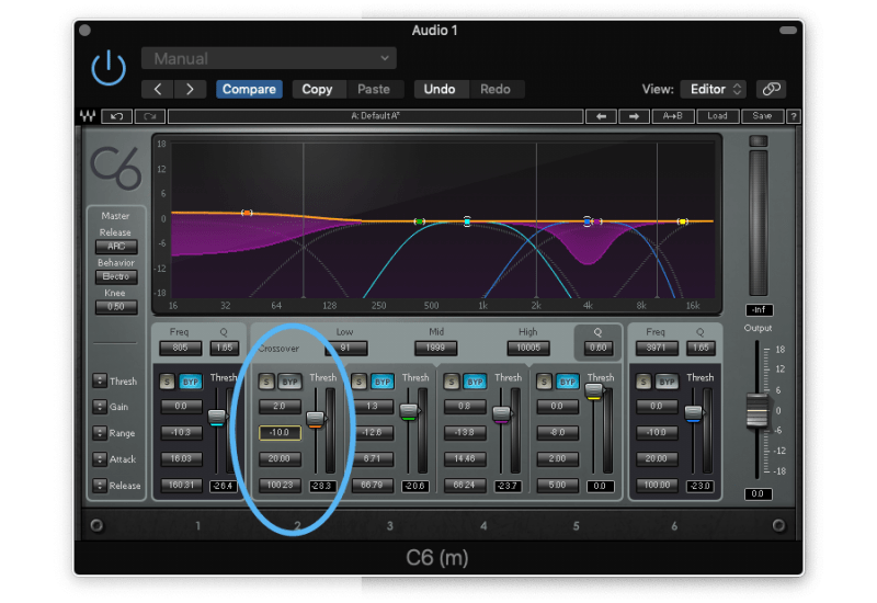 applying makeup gain on the low end with a multiband compressor