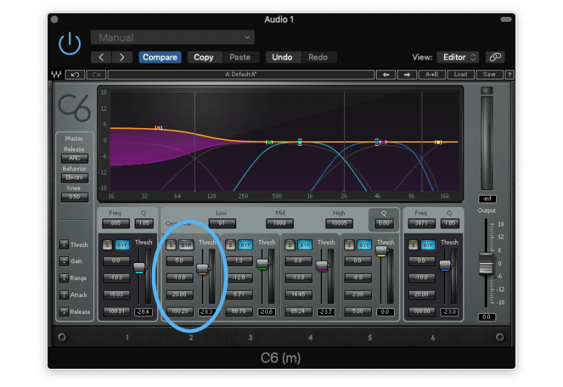 5dB gain reduction on the low end with a multiband compressor