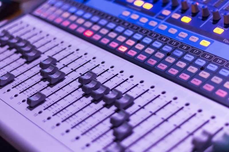 mix console volume faders