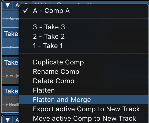 selecting flatten and merge in the take comping menu