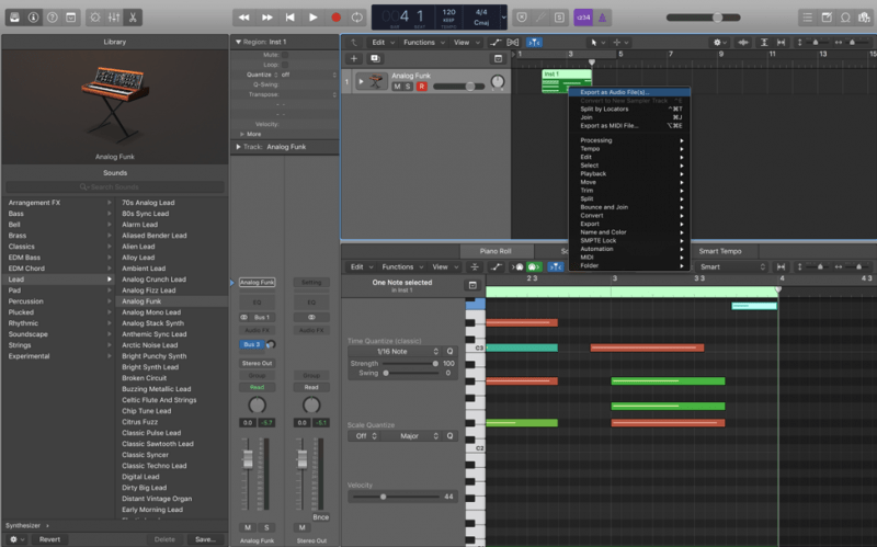 exporting midi as audio