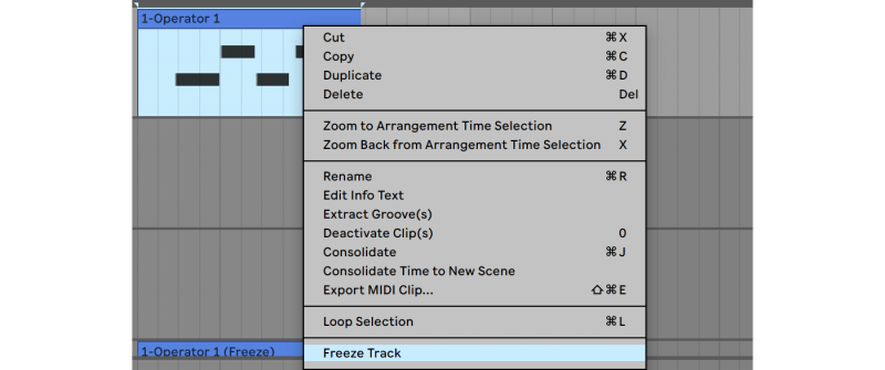 freezing tracks in ableton