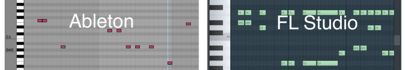 ableton's piano roll side by side with fl studio's piano roll
