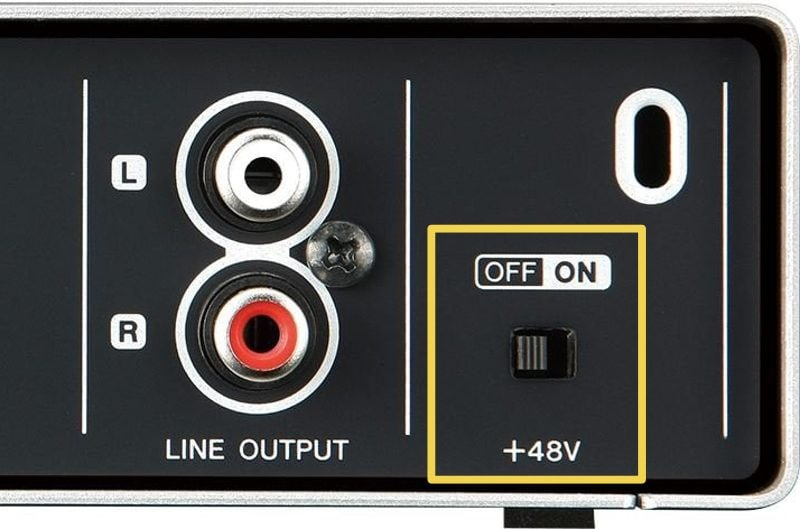 phantom power +48v on an audio interface