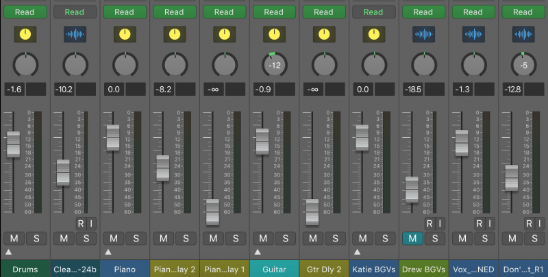 a full mix with volulme faders set at various positions
