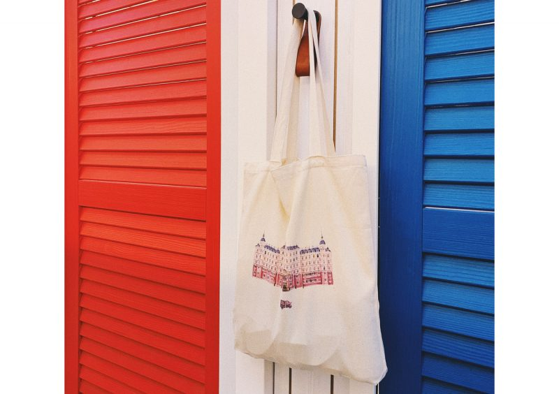 custom made tote bag with an ornate building printed on it
