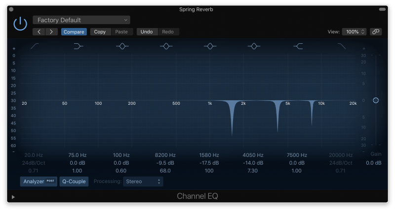eq plugin with surgical cuts in the upper mids to remove resonance